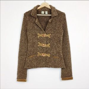 Anthropologie HWR Monogram Marled Boucle Cardigan